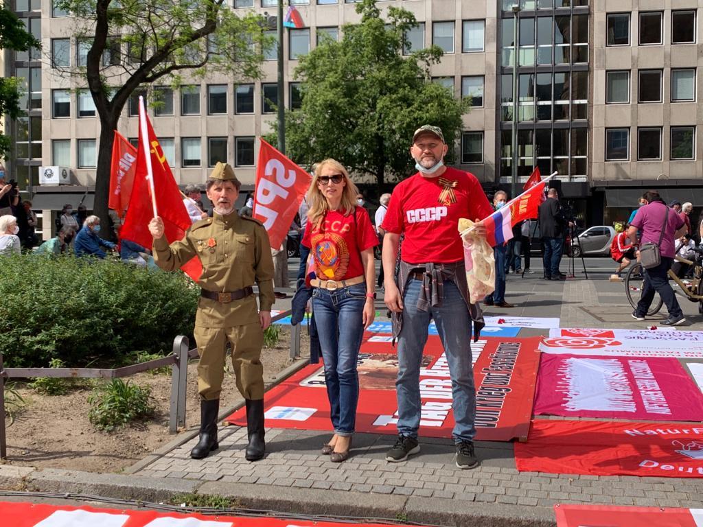Знамя Победы на главной площади Франкфурта-на-Майне